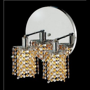 "Mini Collection 2-Light 9"" Chrome Wall Sconce with Light Topaz Yellow Swarovski Strass Crystal 1382W-R-P-LT/SS"