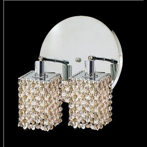 "Mini Collection 2-Light 9"" Chrome Wall Sconce with Golden Teak Smoky Swarovski Strass Crystal 1382W-R-S-GT/SS"