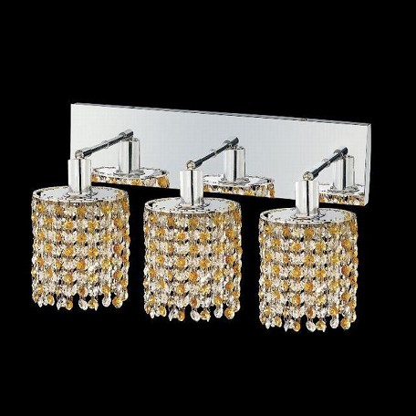 "Mini Collection 3-Light 14"" Chrome Wall Sconce with Light Topaz Yellow Swarovski Strass Crystal 1383W-O-E-LT/SS"