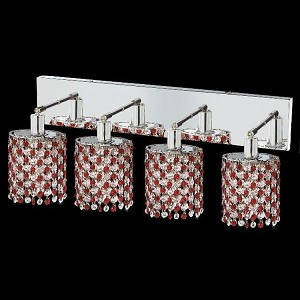 "Mini Collection 4-Light 26"" Chrome Wall Sconce with Bordeaux Red Royal Cut Crystal 1384W-O-E-BO/RC"