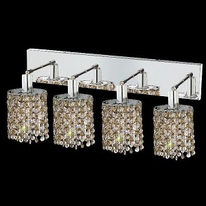 "Mini Collection 4-Light 26"" Chrome Wall Sconce with Golden Teak Smoky Royal Cut Crystal 1384W-O-E-GT/RC"