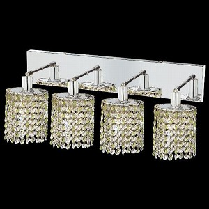 "Mini Collection 4-Light 26"" Chrome Wall Sconce with Peridot Light Green Royal Cut Crystal 1384W-O-E-LP/RC"