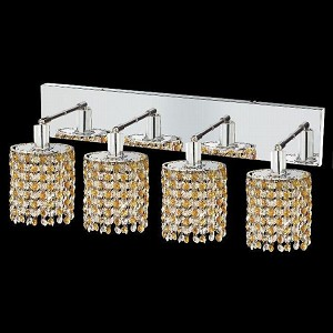 "Mini Collection 4-Light 26"" Chrome Wall Sconce with Light Topaz Yellow Royal Cut Crystal 1384W-O-E-LT/RC"