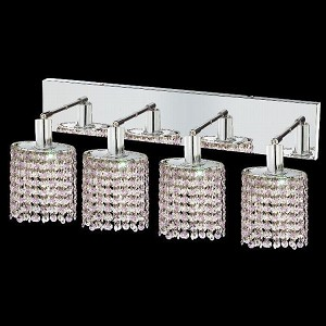 "Mini Collection 4-Light 26"" Chrome Wall Sconce with Rosaline Pink Royal Cut Crystal 1384W-O-E-RO/RC"