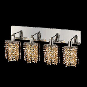 "Mini Collection 4-Light 26"" Chrome Wall Sconce with Light Topaz Yellow Royal Cut Crystal 1384W-O-P-LT/RC"