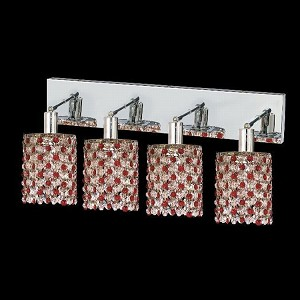 "Mini Collection 4-Light 26"" Chrome Wall Sconce with Bordeaux Red Royal Cut Crystal 1384W-O-R-BO/RC"