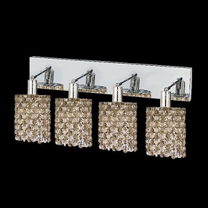 "Mini Collection 4-Light 26"" Chrome Wall Sconce with Golden Teak Smoky Royal Cut Crystal 1384W-O-R-GT/RC"