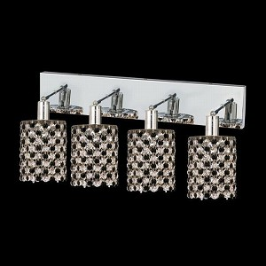 "Mini Collection 4-Light 26"" Chrome Wall Sconce with Jet Black Royal Cut Crystal 1384W-O-R-JT/RC"