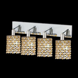 "Mini Collection 4-Light 26"" Chrome Wall Sconce with Light Topaz Yellow Royal Cut Crystal 1384W-O-R-LT/RC"