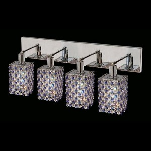 "Mini Collection 4-Light 26"" Chrome Wall Sconce with Sapphire Blue Royal Cut Crystal 1384W-O-S-SA/RC"