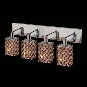 "Mini Collection 4-Light 26"" Chrome Wall Sconce with Topaz Brown Royal Cut Crystal 1384W-O-S-TO/RC"