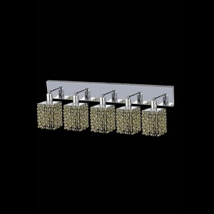 "Mini Collection 5-Light 34"" Chrome Wall Sconce with Light Topaz Yellow Swarovski Strass Crystal 1385W-O-S-LT/SS"