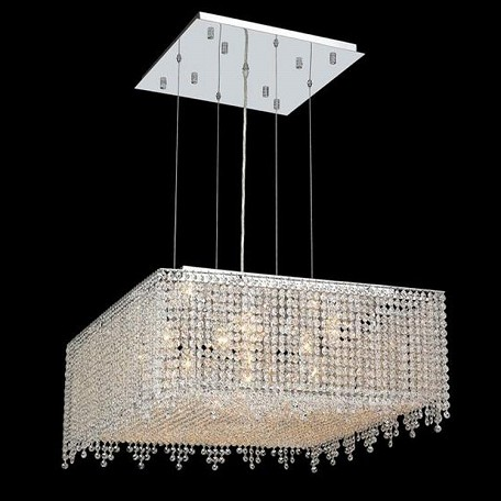"Moda Collection 13-Light 26"" Chrome Pendant with Light Topaz Yellow Swarovski Strass Crystal 1394D26C-LT/SS"