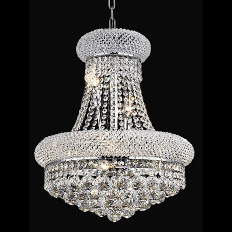 "Primo Collection 8-Light 16"" Chrome Chandelier with Clear Swarovski Spectra Crystal 1800D16C/SA"
