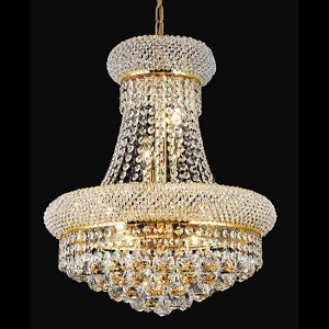 "Primo Collection 8-Light 16"" Gold Chandelier with Clear Swarovski Spectra Crystal 1800D16G/SA"