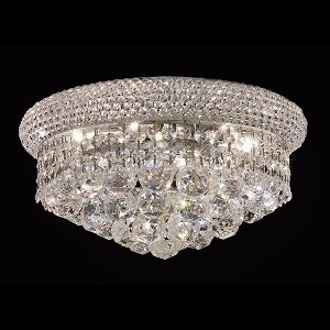 "Primo Collection 6-Light 14"" Chrome Flush Mount with Clear Royal Cut Crystal 1800F14C/RC"