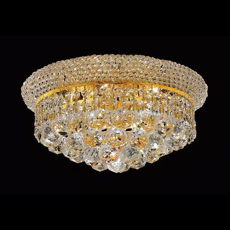 "Primo Collection 6-Light 14"" Gold Flush Mount with Clear  Swarovski Strass Crystal 1800F14G/SS"