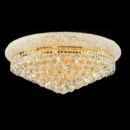 "Primo Collection 12-Light 24"" Gold Flush Mount with Clear  Swarovski Strass Crystal 1800F24G/SS"
