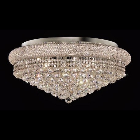 "Primo Collection 15-Light 28"" Chrome Flush Mount with Clear  Swarovski Strass Crystal 1800F28C/SS"