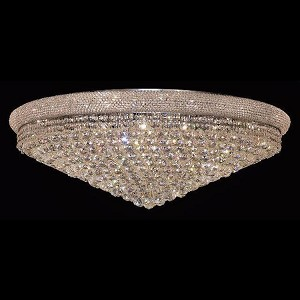 "Primo Collection 30-Light 42"" Chrome Flush Mount with Clear Royal Cut Crystal 1800F42C/RC"