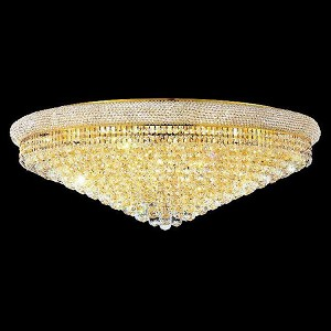 "Primo Collection 30-Light 42"" Gold Flush Mount with Clear Swarovski Spectra Crystal 1800F42G/SA"
