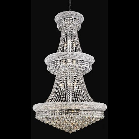 "Primo Collection 32-Light 30"" Chrome Chandelier with Clear  Swarovski Strass Crystal 1800G30C/SS"