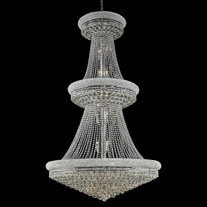 "Primo Collection 38-Light 42"" Chrome Chandelier with Clear Royal Cut Crystal 1800G42C/RC"