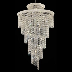 "Spiral Collection 41-Light 48"" Chrome Chandelier with Clear Elegant Cut Crystal 1800SR48C/EC"