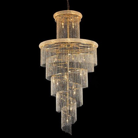 "Spiral Collection 41-Light 48"" Gold Chandelier with Clear Swarovski Spectra Crystal 1800SR48G/SA"