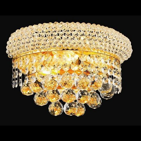 "Primo Collection 2-Light 12"" Gold Wall Sconce with Clear Swarovski Spectra Crystal 1800W12G/SA"