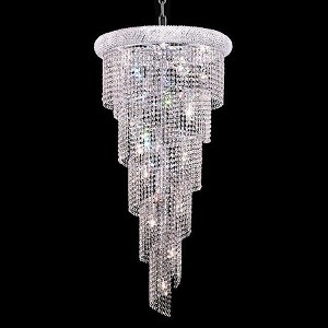 "Spiral Collection 18-Light 22"" Chrome Chandelier with Clear Swarovski Spectra Crystal 1801SR22C/SA"