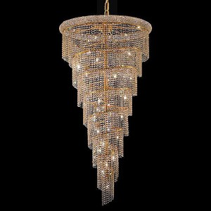 "Spiral Collection 26-Light 36"" Gold Chandelier with Clear Royal Cut Crystal 1801SR36G/RC"
