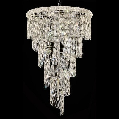 "Spiral Collection 29-Light 48"" Chrome Chandelier with Clear Elegant Cut Crystal 1801SR48C/EC"