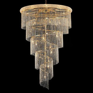 "Spiral Collection 29-Light 48"" Gold Chandelier with Clear Elegant Cut Crystal 1801SR48G/EC"