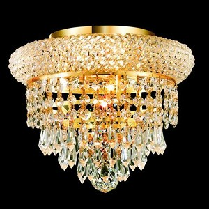 "Primo Collection 3-Light 10"" Gold Flush Mount with Clear Royal Cut Crystal 1802F10G/RC"