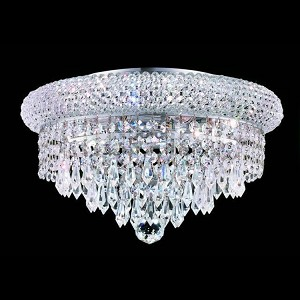 "Primo Collection 6-Light 14"" Chrome Flush Mount with Clear Elegant Cut Crystal 1802F14C/EC"