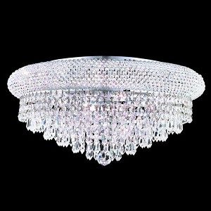 "Primo Collection 10-Light 20"" Chrome Flush Mount with Clear Elegant Cut Crystal 1802F20C/EC"