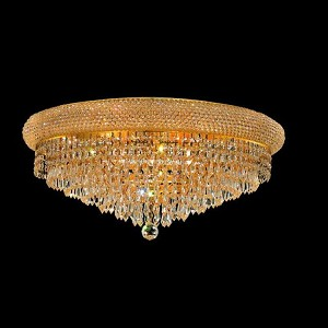 "Primo Collection 12-Light 24"" Gold Flush Mount with Clear Elegant Cut Crystal 1802F24G/EC"