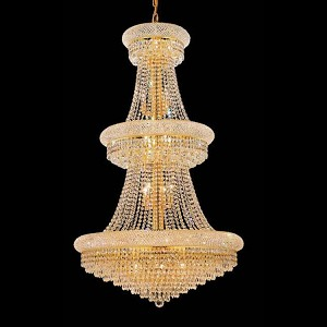 "Primo Collection 32-Light 30"" Gold Chandelier with Clear Swarovski Spectra Crystal 1802G30G/SA"