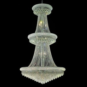 "Primo Collection 32-Light 36"" Chrome Chandelier with Clear  Swarovski Strass Crystal 1802G36C/SS"
