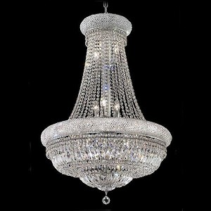 "Primo Collection 14-Light 28"" Chrome Chandelier with Clear Royal Cut Crystal 1803D28C/RC"