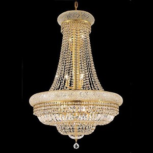 "Primo Collection 14-Light 28"" Gold Chandelier with Clear Elegant Cut Crystal 1803D28G/EC"