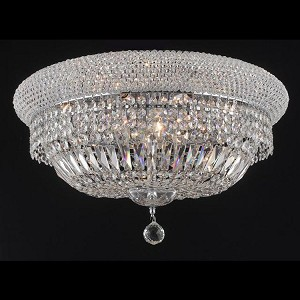 "Primo Collection 10-Light 20"" Chrome Flush Mount with Clear Swarovski Spectra Crystal 1803F20C/SA"