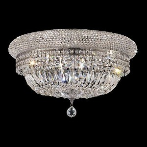 "Primo Collection 12-Light 24"" Chrome Flush Mount with Clear Elegant Cut Crystal 1803F24C/EC"
