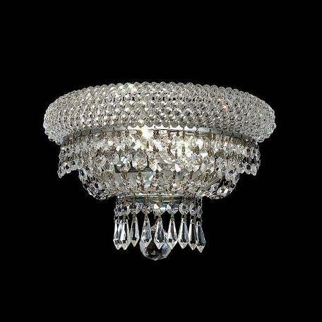 "Primo Collection 2-Light 12"" Chrome Wall Sconce with Clear Elegant Cut Crystal 1803W12C/EC"