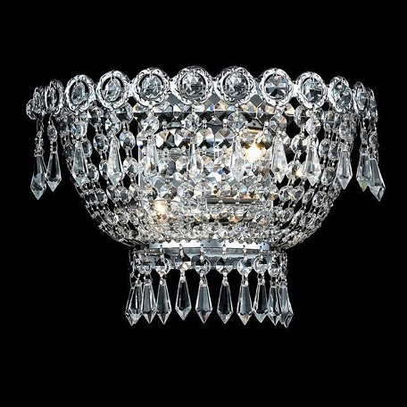 "Century Collection 2-Light 12"" Chrome Wall Sconce with Clear Swarovski Spectra Crystal 1900W12C/SA"