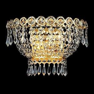 "Century Collection 2-Light 12"" Gold Wall Sconce with Clear Swarovski Spectra Crystal 1900W12G/SA"