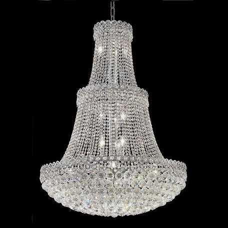 "Century Collection 17-Light 30"" Chrome Chandelier with Clear Elegant Cut Crystal 1901G30C/EC"