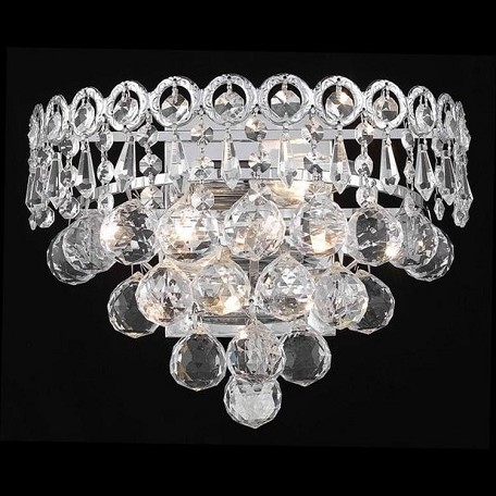 "Century Collection 2-Light 12"" Chrome Wall Sconce with Clear Swarovski Spectra Crystal 1901W12C/SA"