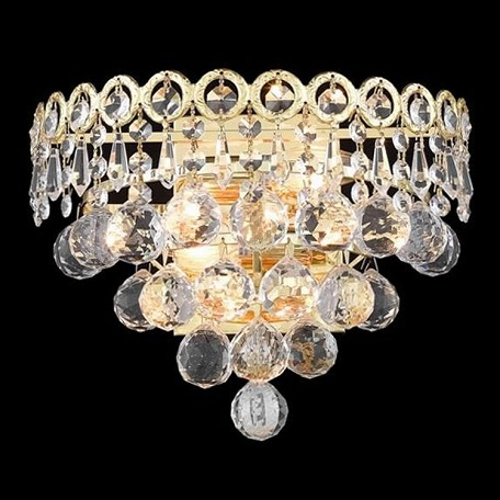 "Century Collection 2-Light 12"" Gold Wall Sconce with Clear  Swarovski Strass Crystal 1901W12G/SS"
